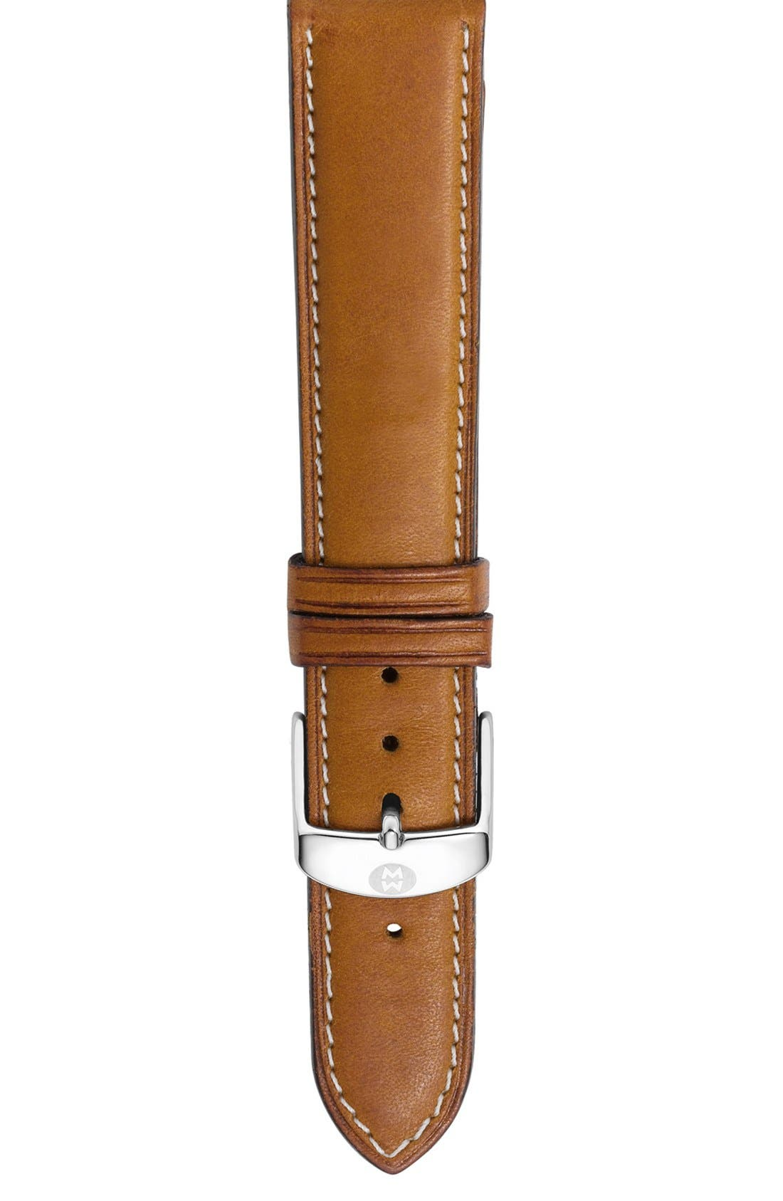 Alternate Image 1 Selected - MICHELE 18mm Leather Watch Strap