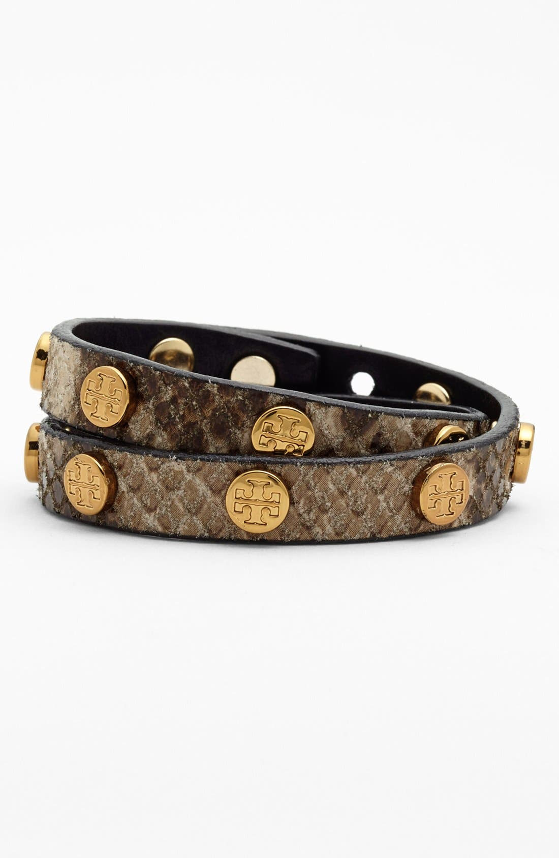 Alternate Image 1 Selected - Tory Burch Logo Leather Wrap Bracelet