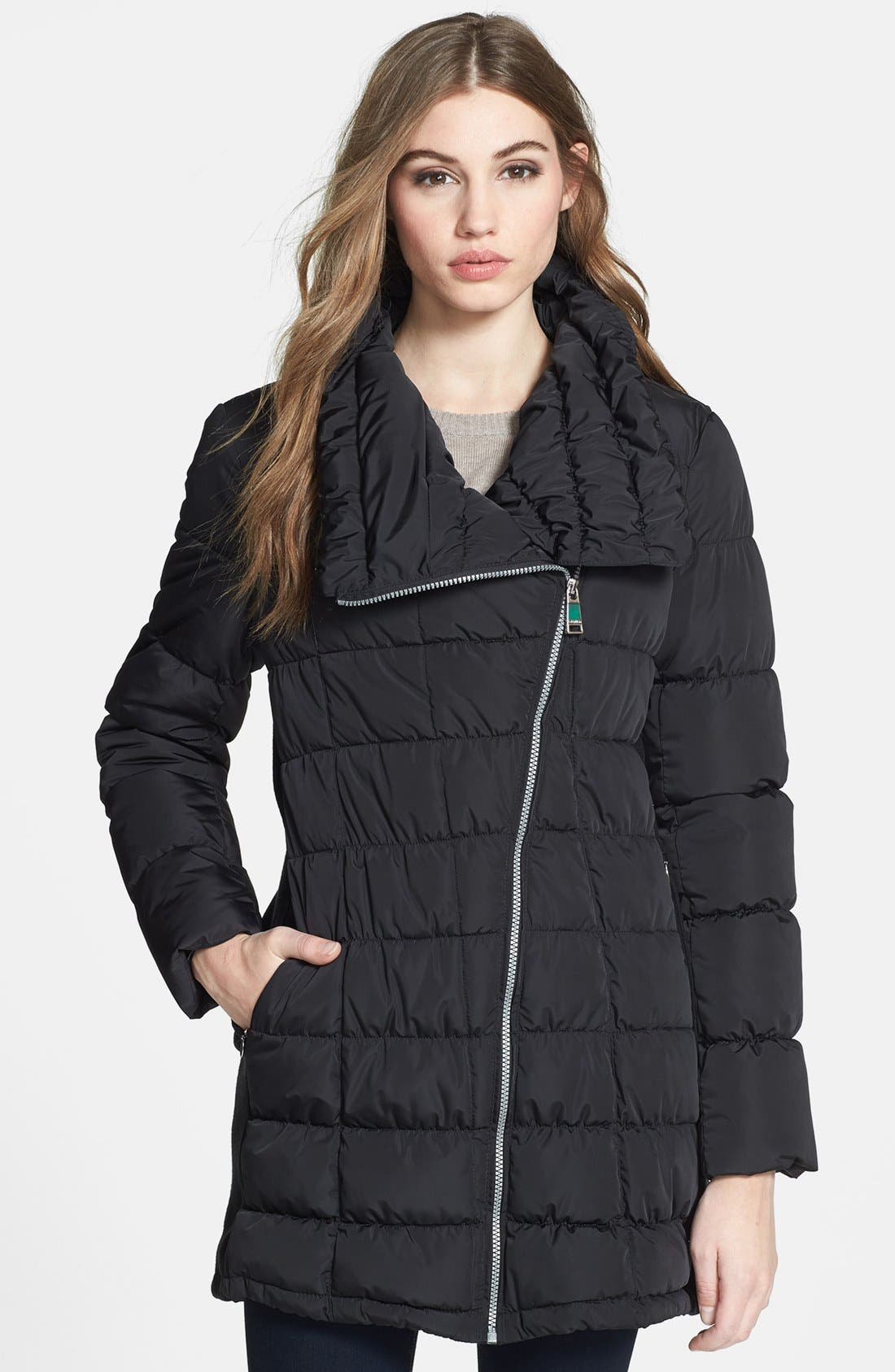 Asymmetrical Quilted Jacket,                         Main,                         color, Black