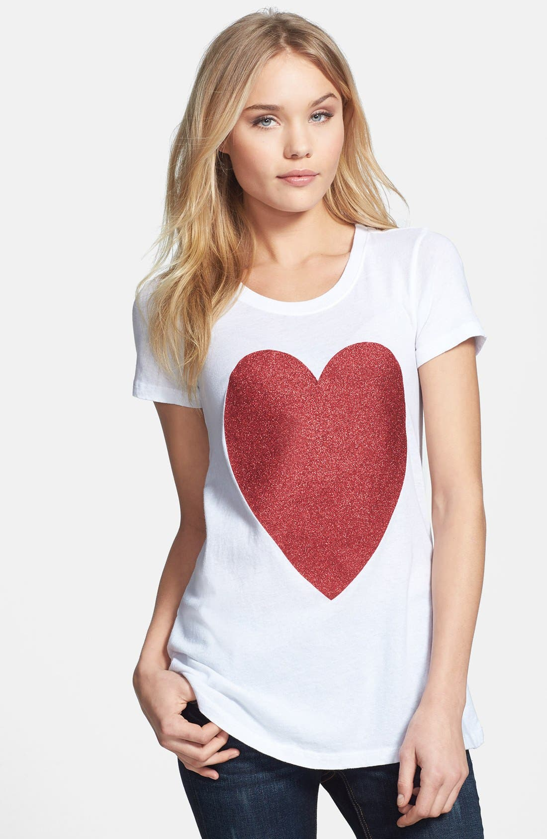 Alternate Image 1 Selected - Wildfox 'Sparkle Heart' Crewneck Cotton Tee (Special Purchase)