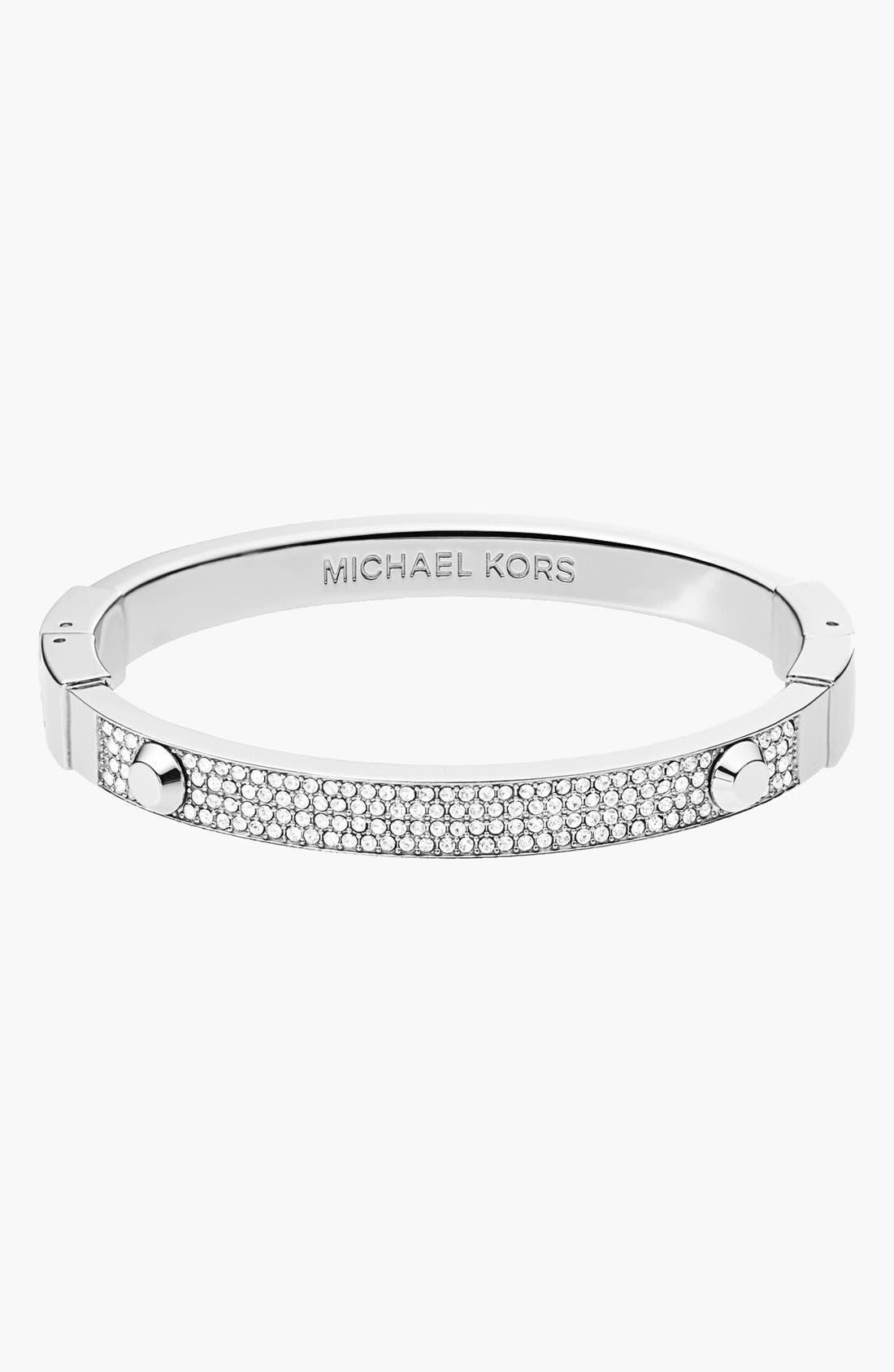 Michael Kors 'Brilliance' Hinged Bangle,                         Main,                         color, Silver/ Clear Crystal