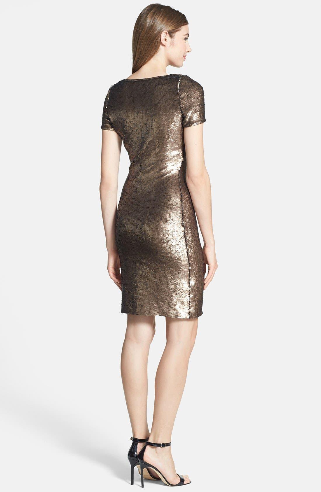 Alternate Image 2  - Halston Heritage Short Sleeve Sequin Dress