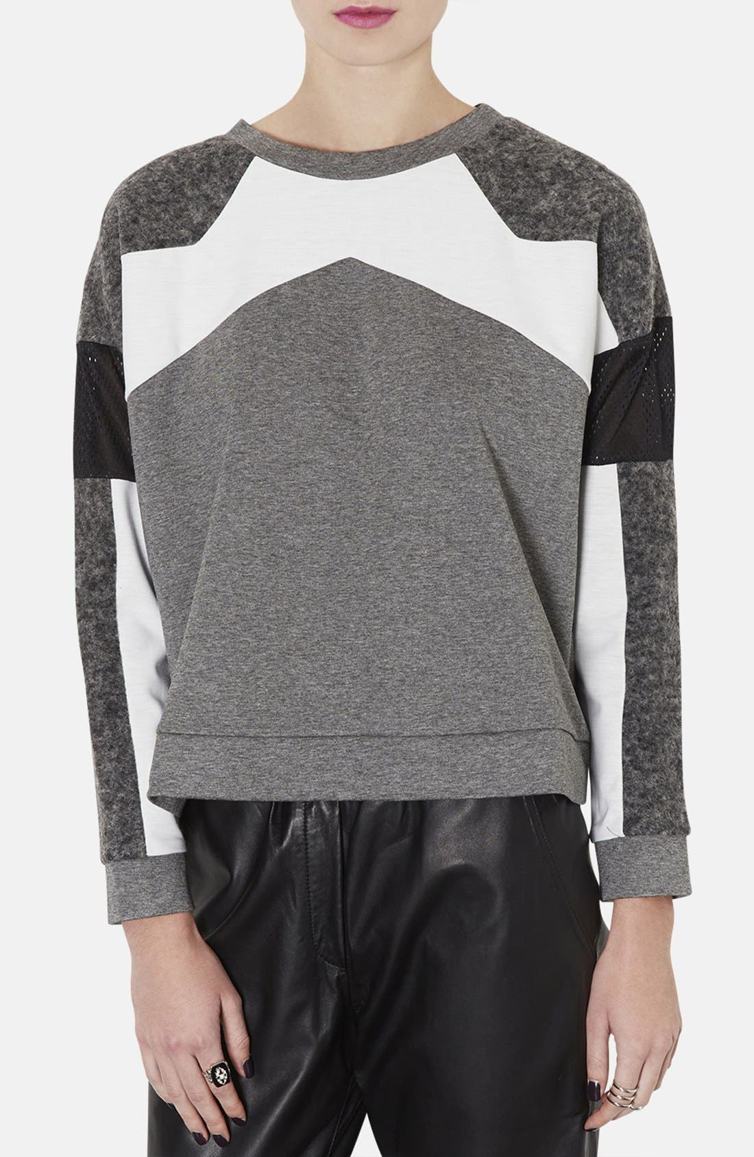 Alternate Image 1 Selected - Topshop Perforated Mixed Media Sweatshirt