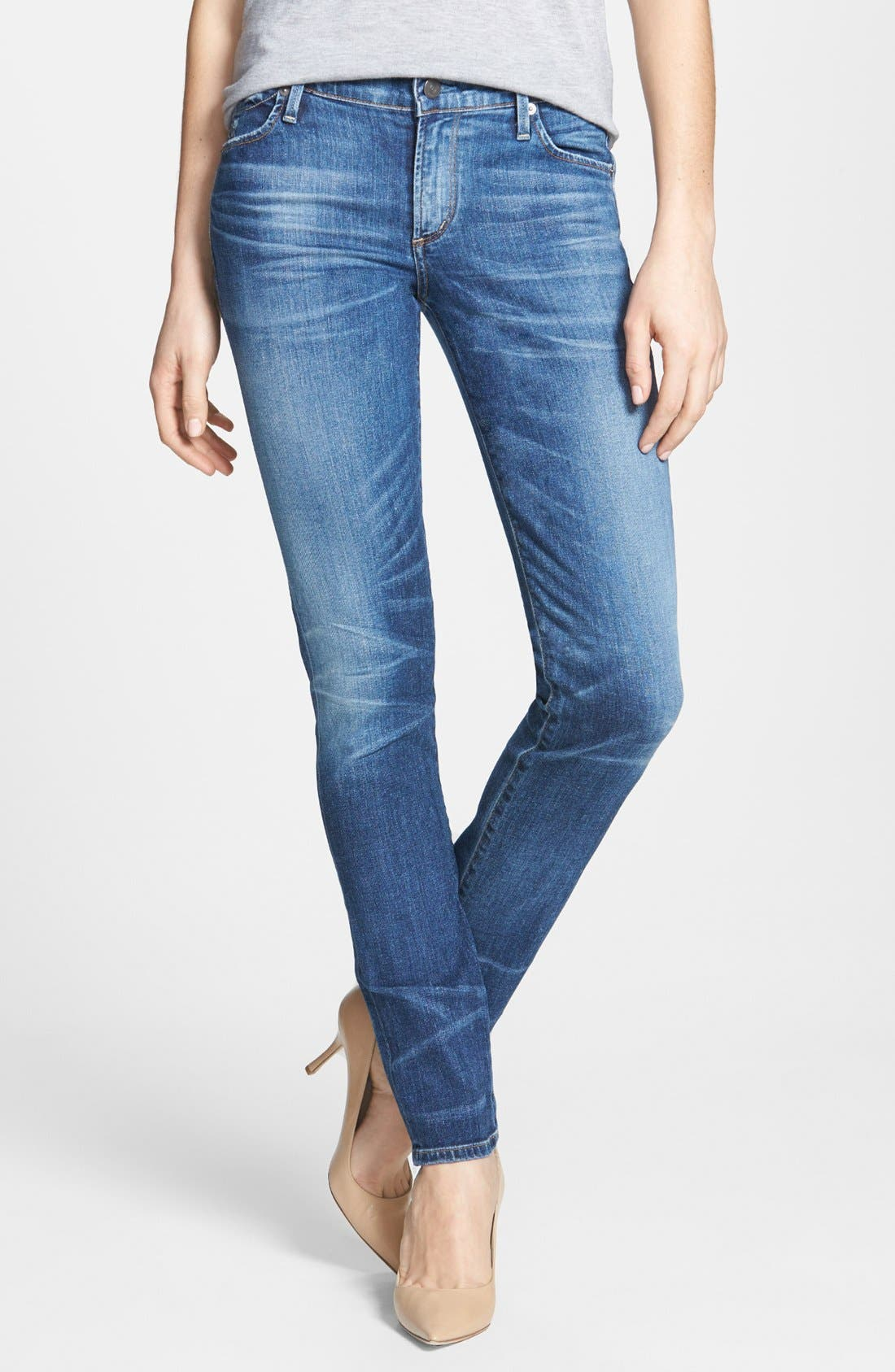 Whiskered Skinny Jeans,                             Main thumbnail 1, color,                             Weekender