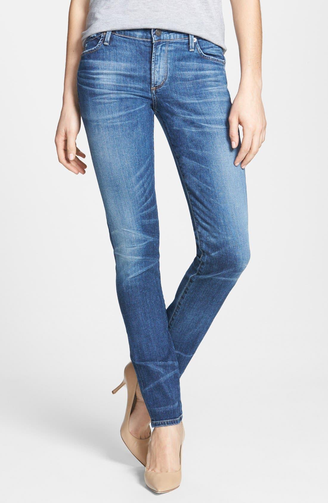 Whiskered Skinny Jeans,                         Main,                         color, Weekender