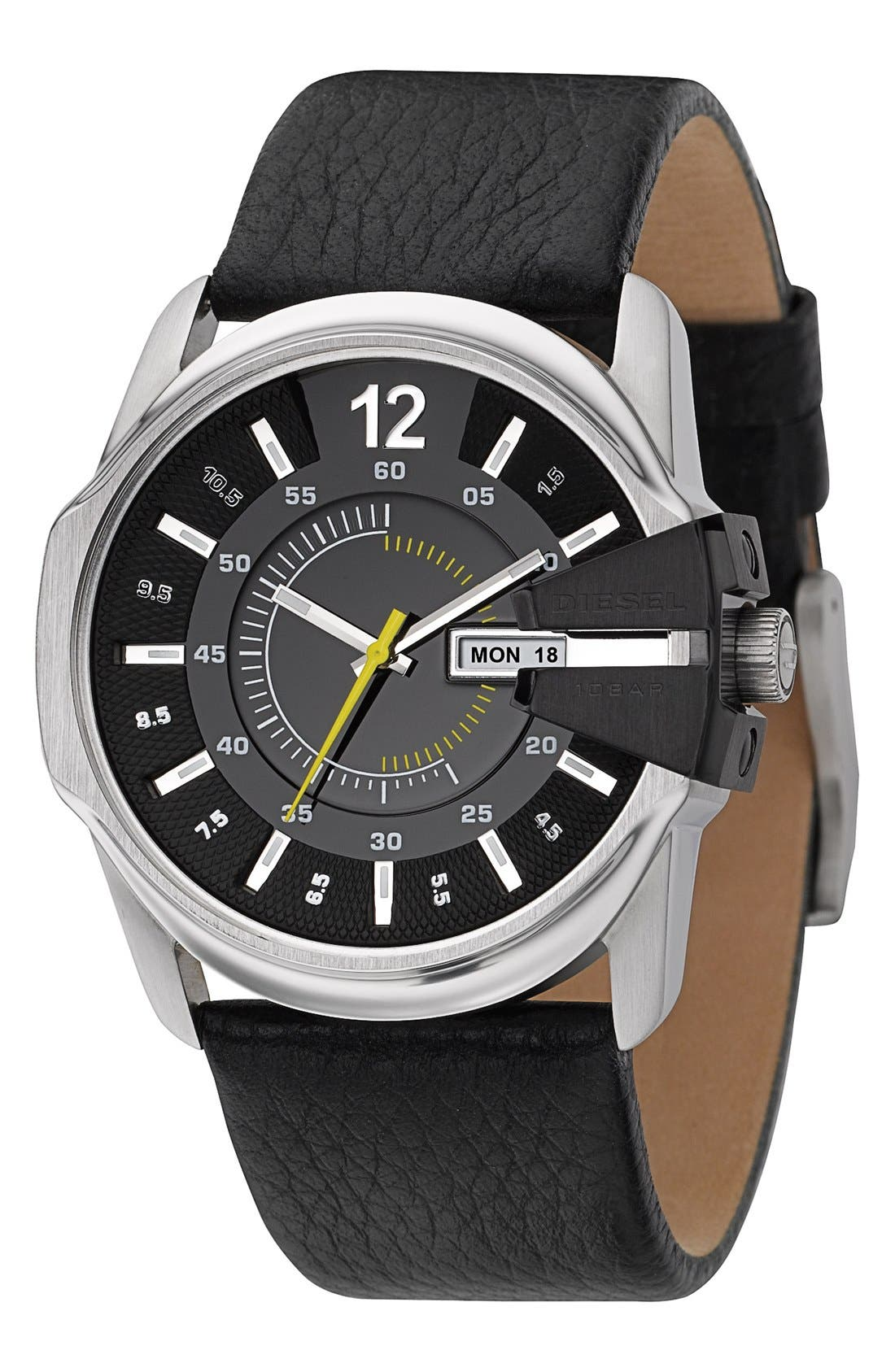 Main Image - DIESEL® 'Master Chief' Leather Strap Watch, 45mm