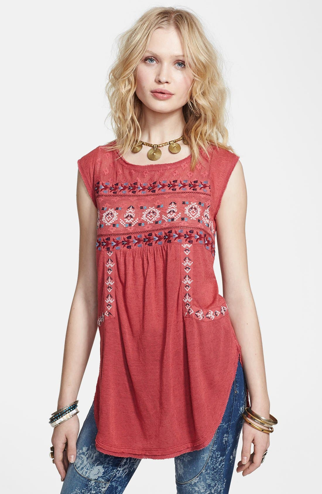 Main Image - Free People 'Reckless Abandon' Embroidered Tunic Top