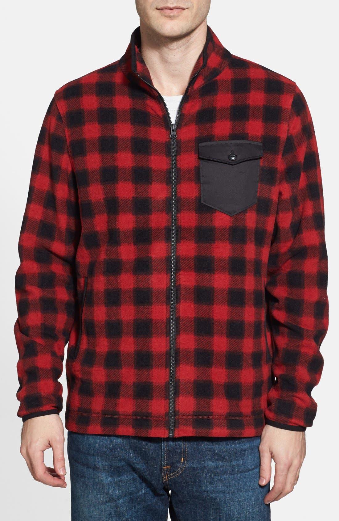 Main Image - Wallin & Bros. Trim Fit Plaid Full Zip Fleece