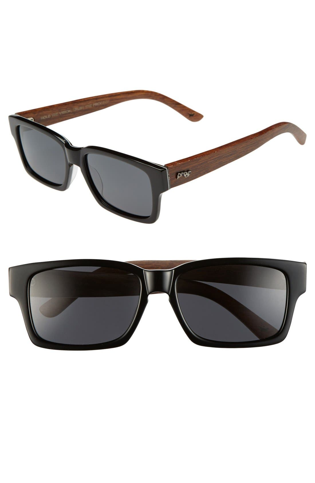 Alternate Image 1 Selected - Proof Eyewear 'Bannock' 52mm Wood Temple Polarized Sunglasses