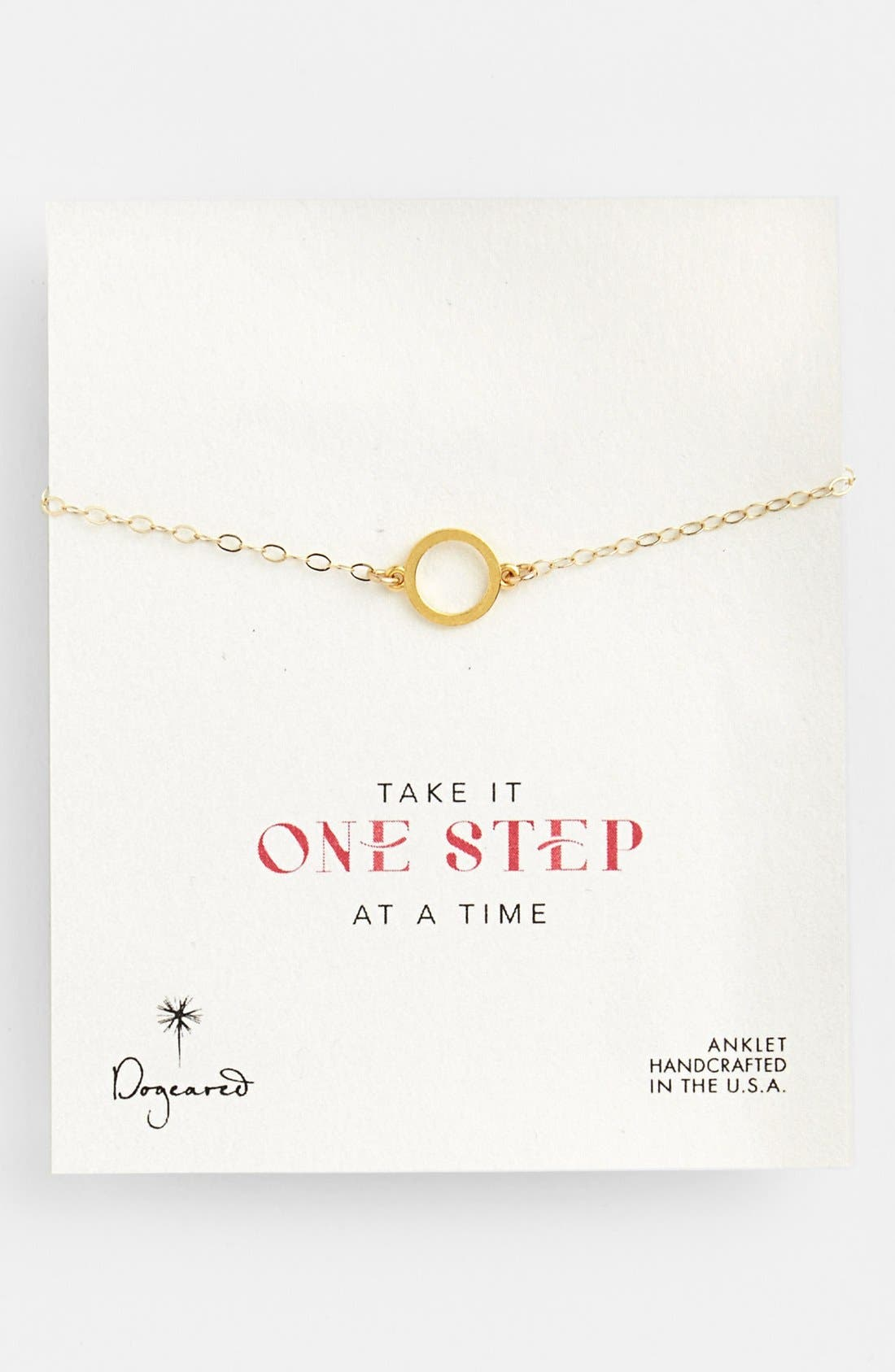 Alternate Image 1 Selected - Dogeared 'One Step at a Time' Karma Symbol Station Anklet