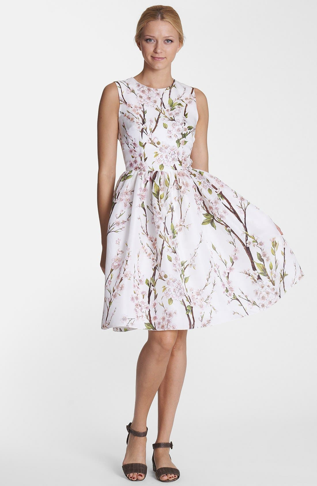 Alternate Image 1 Selected - Dolce&Gabbana Print Silk Organza Fit & Flare Dress
