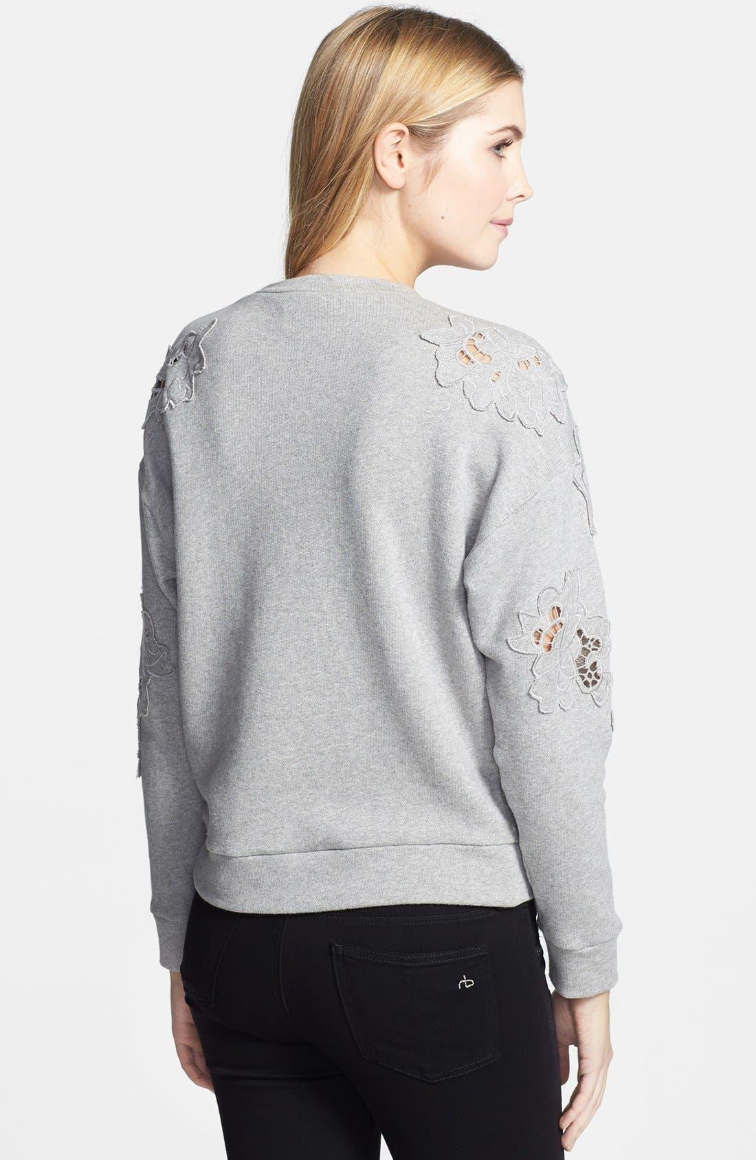 Alternate Image 2  - Rebecca Taylor Floral Cutout Crop Sweatshirt