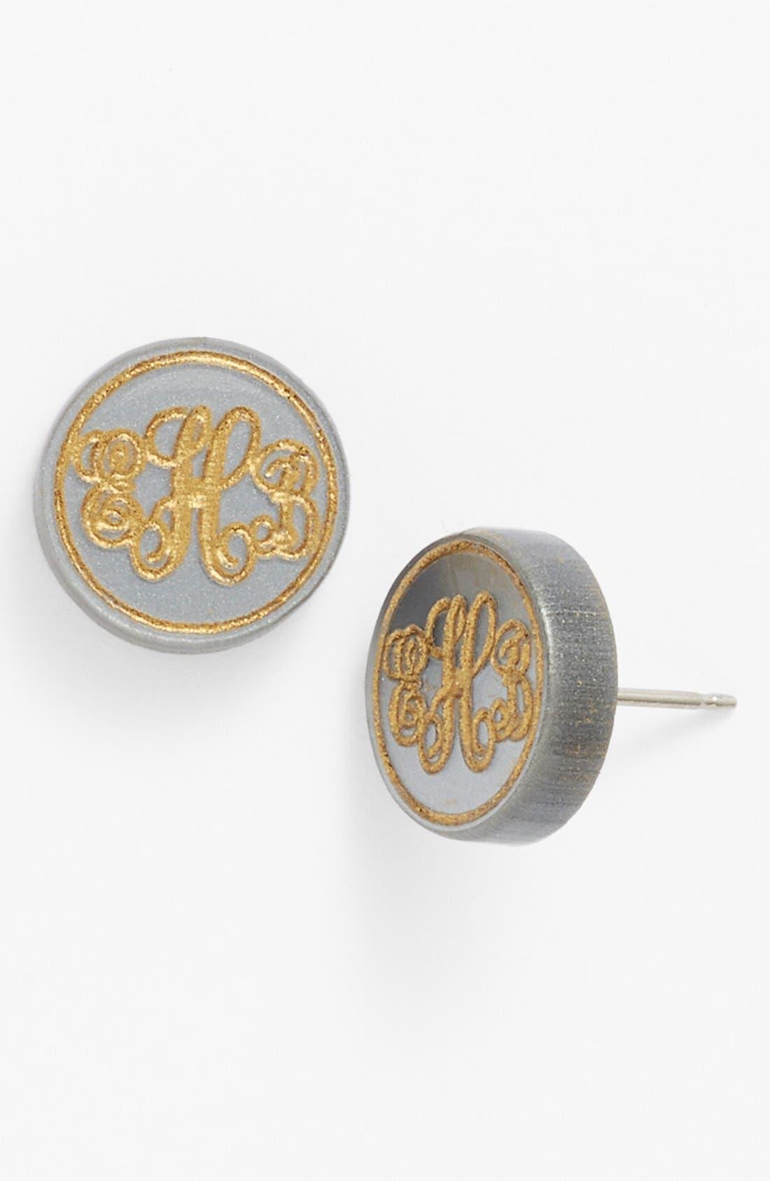 'Chelsea' Small Personalized Monogram Stud Earrings,                         Main,                         color, Gunmetal/ Gold