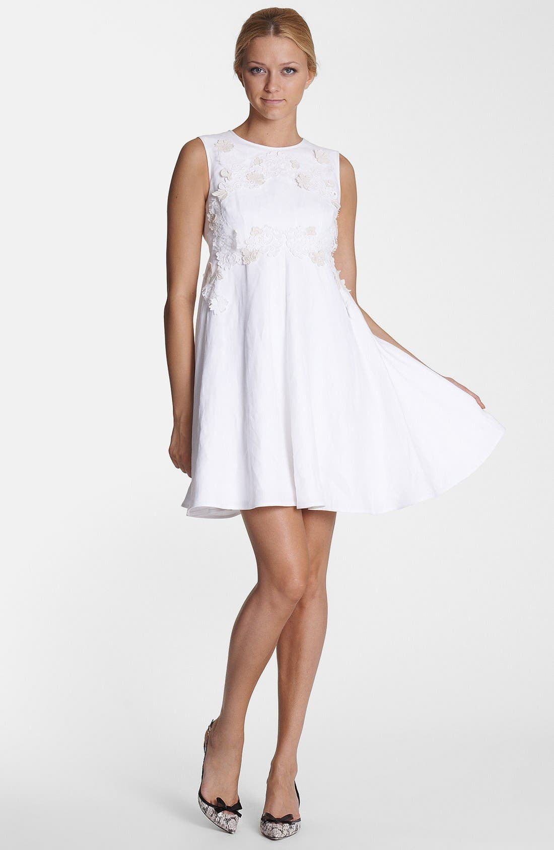 Alternate Image 1 Selected - Dolce&Gabbana Floral Appliqué Fit & Flare Dress