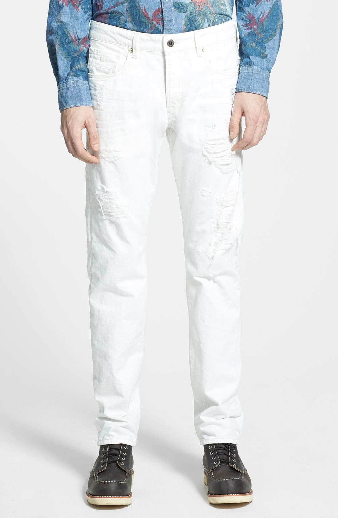 Main Image - Scotch & Soda 'Ralston' Slim Straight Leg Jeans (Washed Out White)