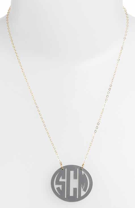 Personalized gifts nordstrom moon and lola medium oval personalized monogram pendant necklace nordstrom exclusive negle Choice Image