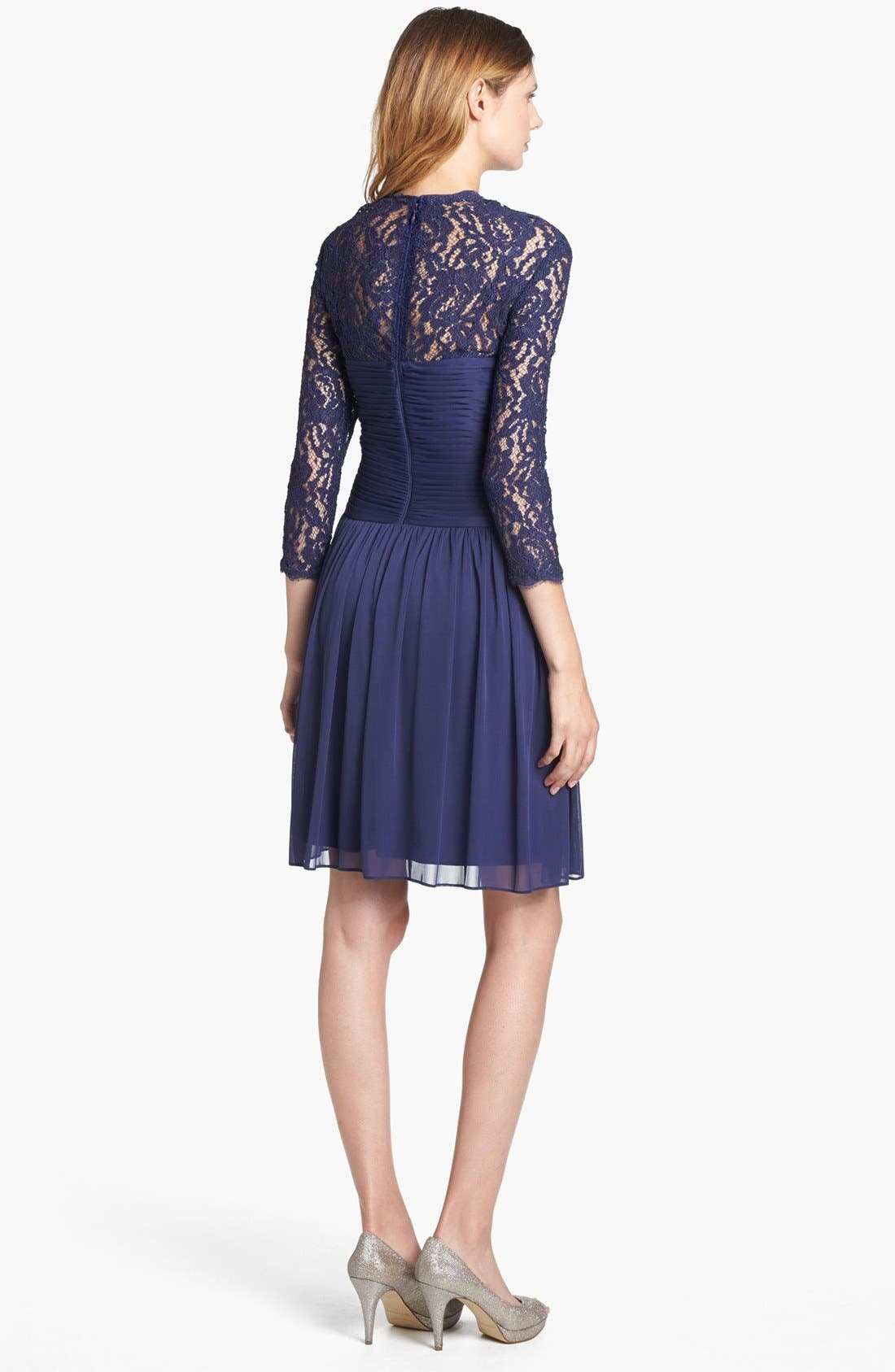 Alternate Image 2  - Adrianna Papell Lace Sleeve Mesh Fit & Flare Dress (Petite)