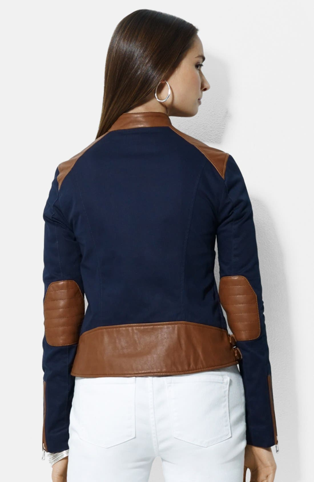 Alternate Image 2  - Lauren Ralph Lauren Asymmetrical Two-Tone Cotton & Leather Moto Jacket