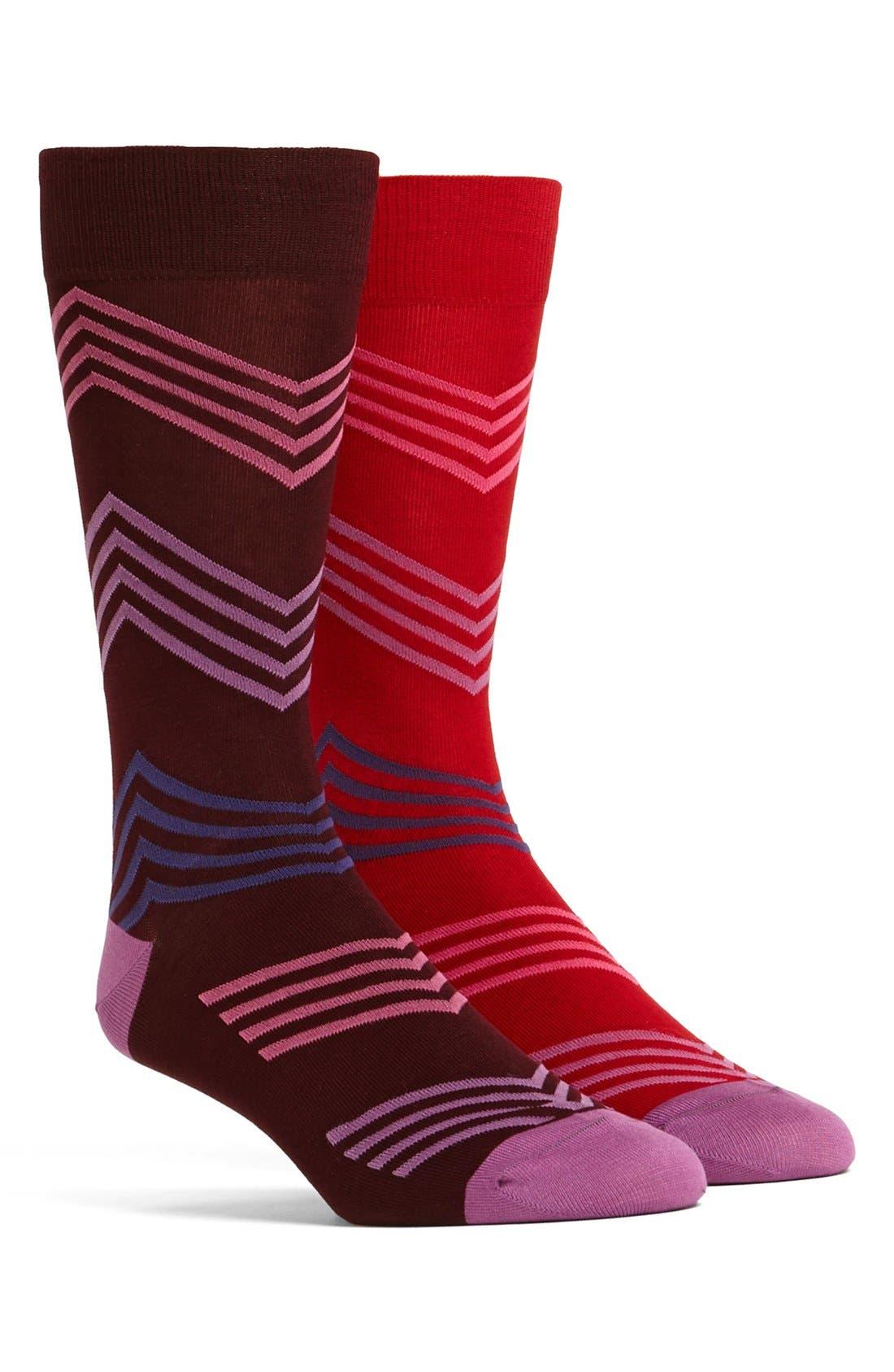 Alternate Image 1 Selected - Ted Baker London Chevron Odd Socks