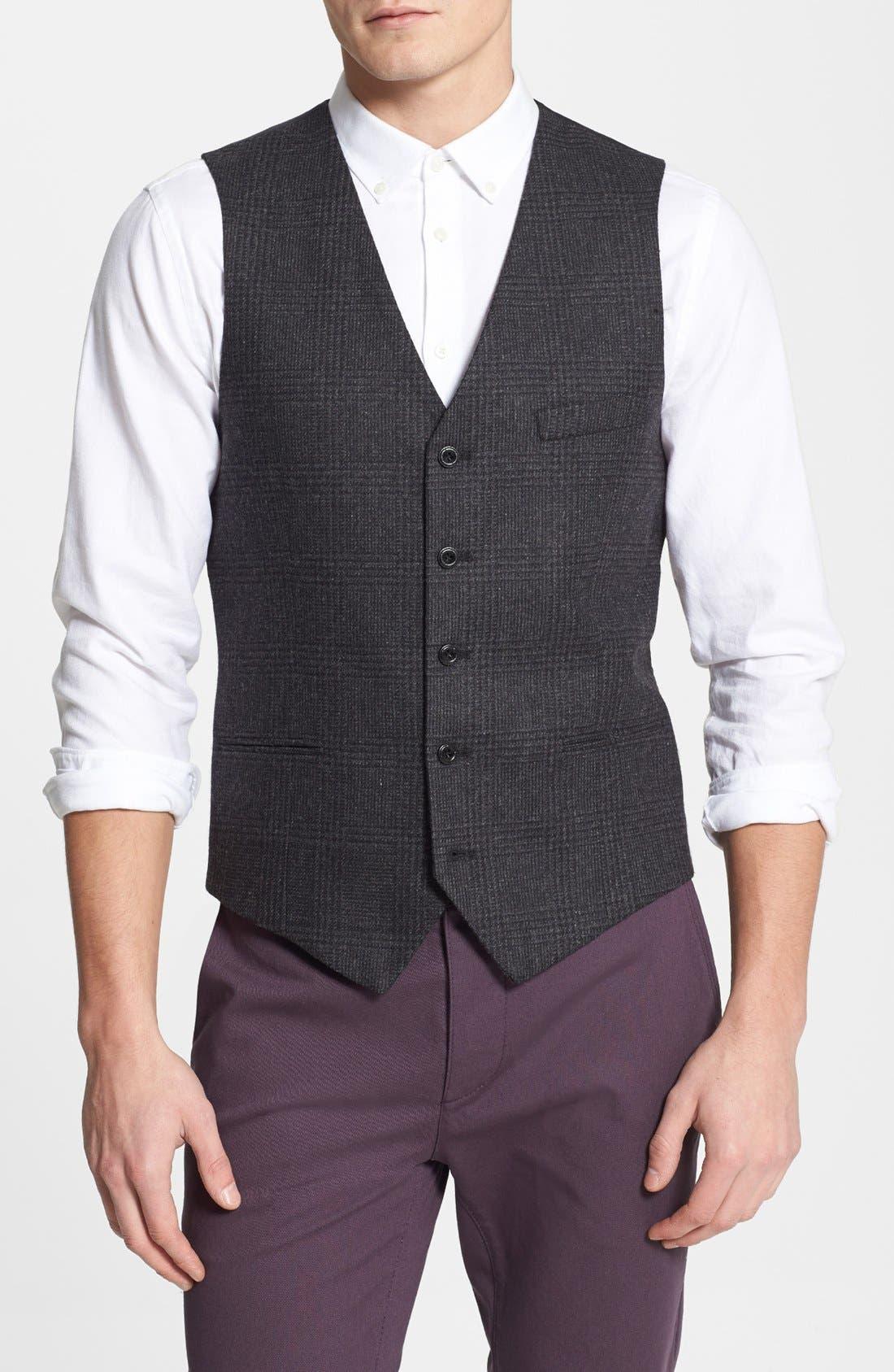Main Image - Topman Skinny Fit Check Wool Blend Vest