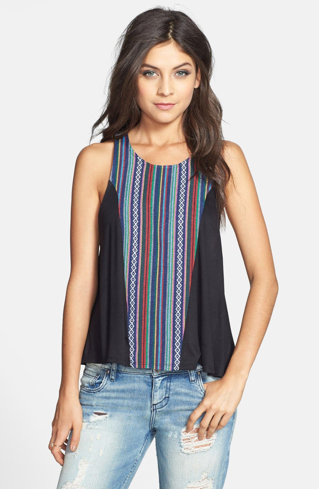 Alternate Image 1 Selected - Painted Threads Geometric Motif Tank (Juniors) (Online Only)