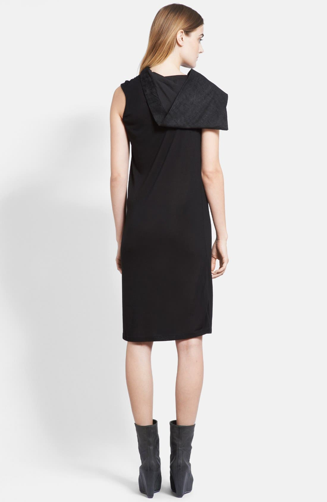 Alternate Image 2  - Rick Owens Suede Hood Jersey Tunic Dress