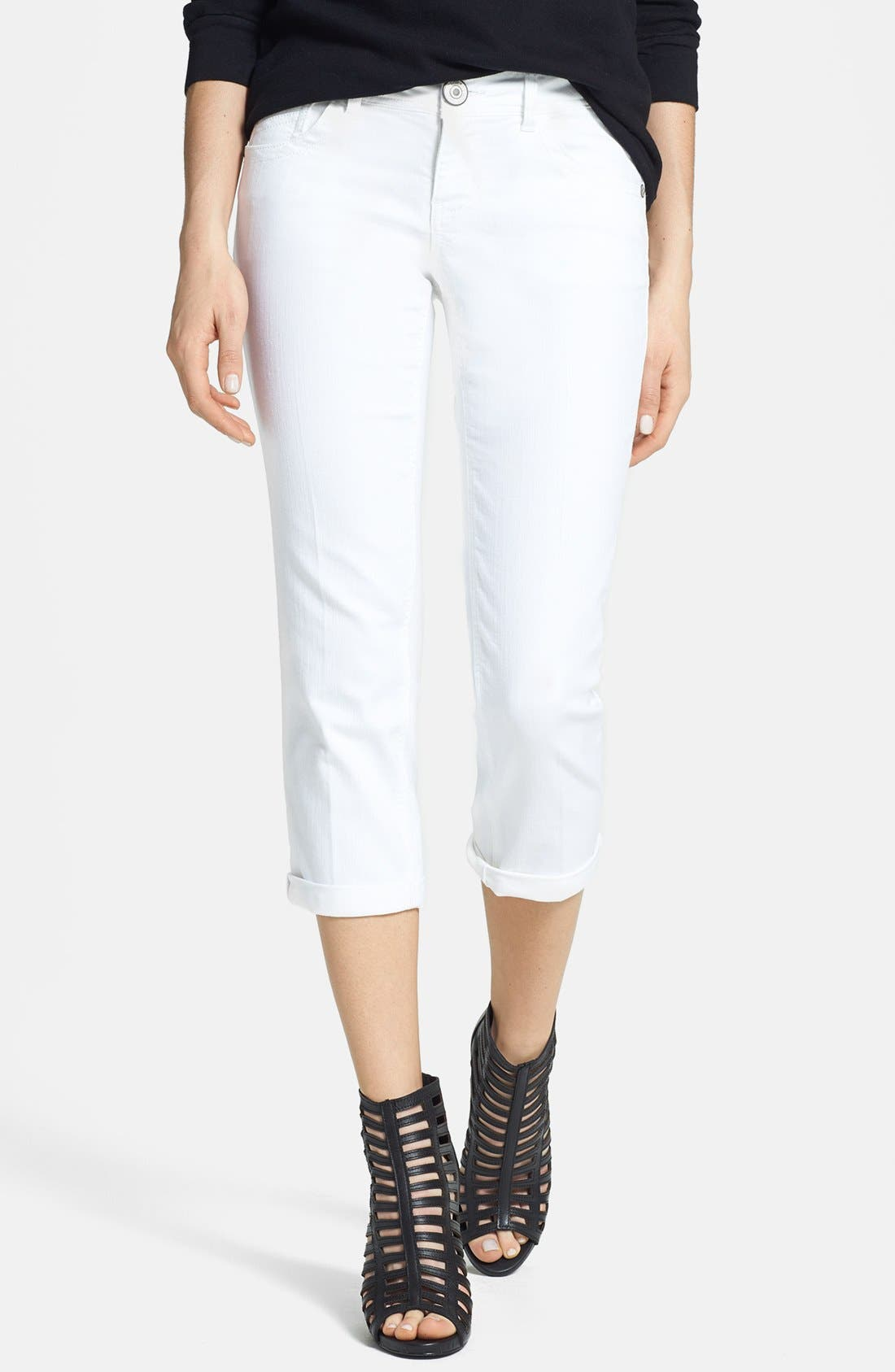 Alternate Image 1 Selected - Jolt Crop Jeans (White) (Juniors) (Online Only)