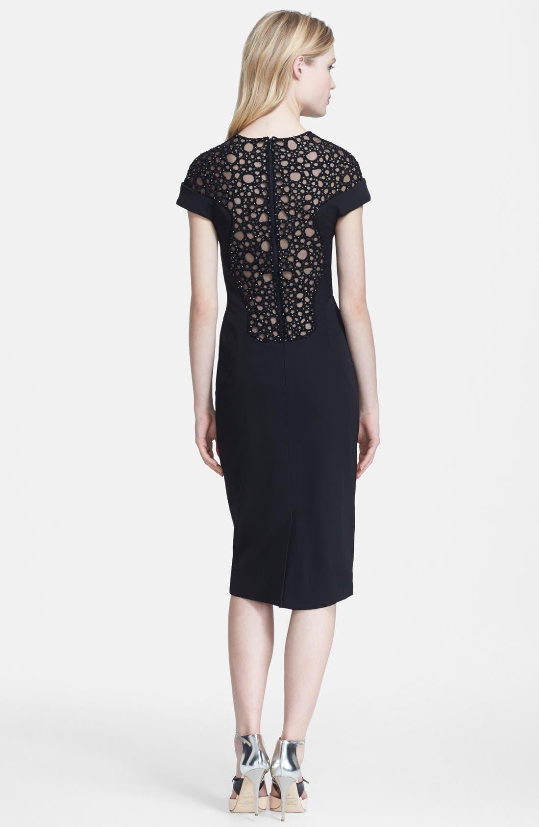 Alternate Image 2  - Lela Rose Embellished Yoke Sheath Dress