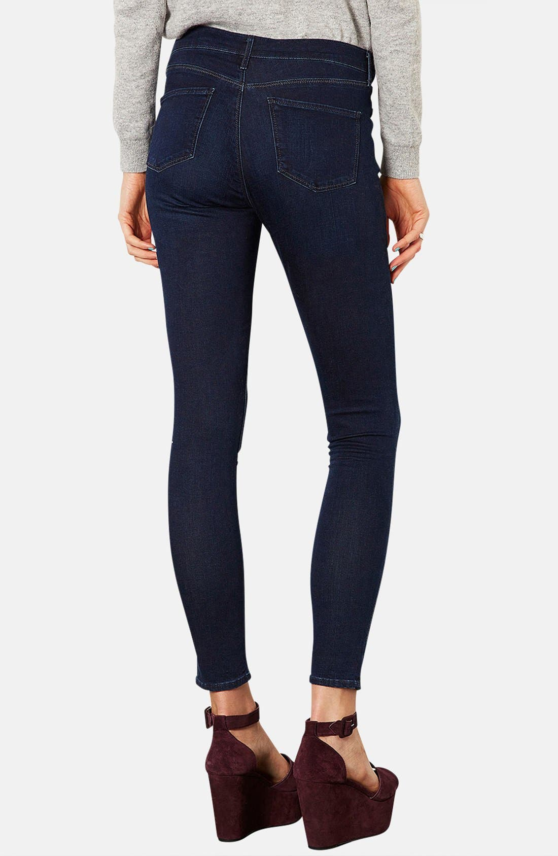 Alternate Image 2  - Topshop Moto 'Leigh' Skinny Jeans (Blue Black) (Regular & Long)