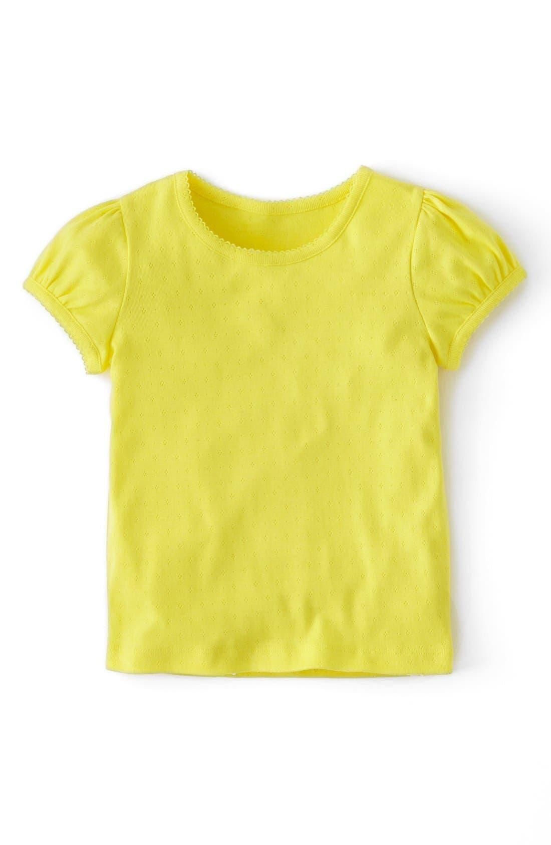 Main Image - Mini Boden Pointelle Cap Sleeve Tee (Toddler Girls, Little Girls & Big Girls)
