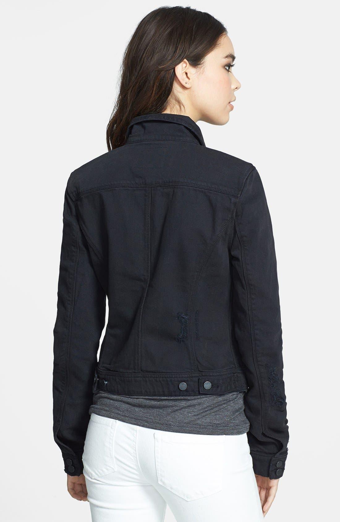 Alternate Image 2  - Paige Denim 'Vermont' Distressed Denim Jacket (Vintage Black)