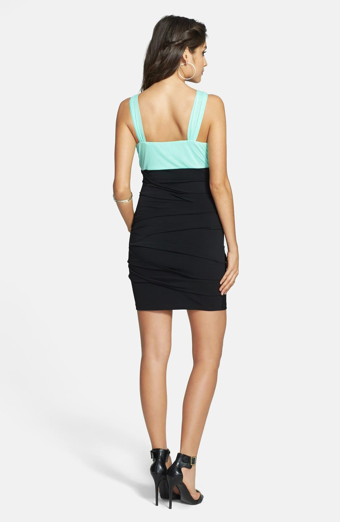 Alternate Image 2  - Way-In Embellished Colorblock Body-Con Dress (Juniors) (Online Only)