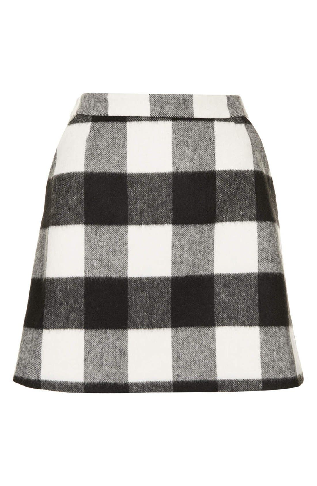 Alternate Image 3  - Topshop Brushed Gingham A-Line Skirt