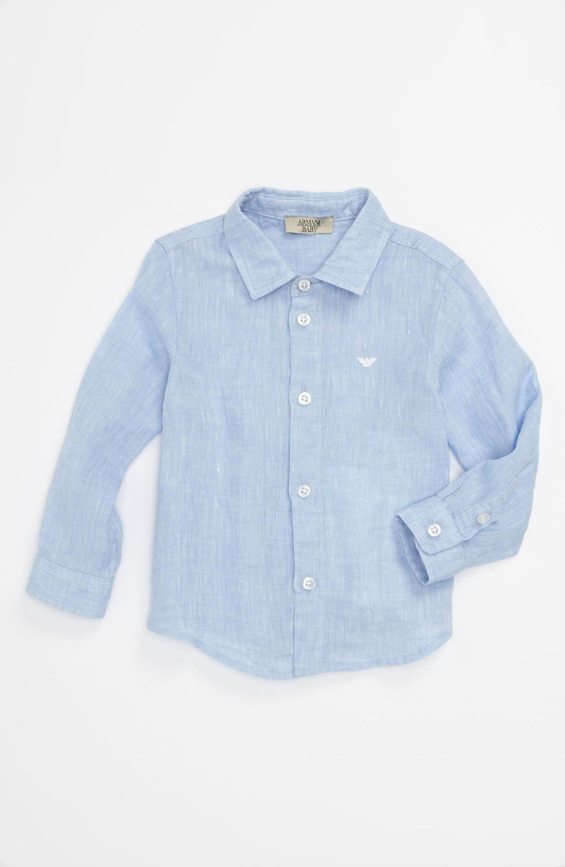 Alternate Image 1 Selected - Armani Junior Chambray Sport Shirt (Baby)