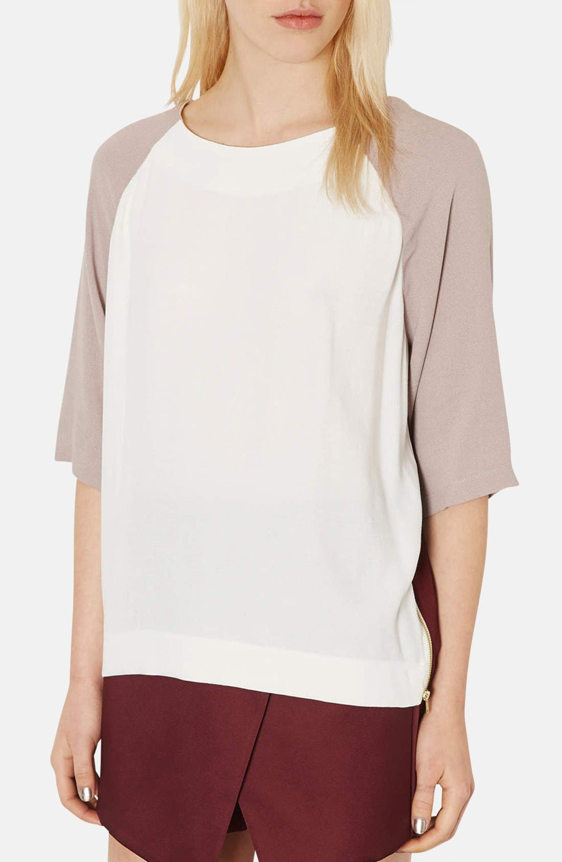 Alternate Image 1 Selected - Topshop Colorblock Crepe Tunic