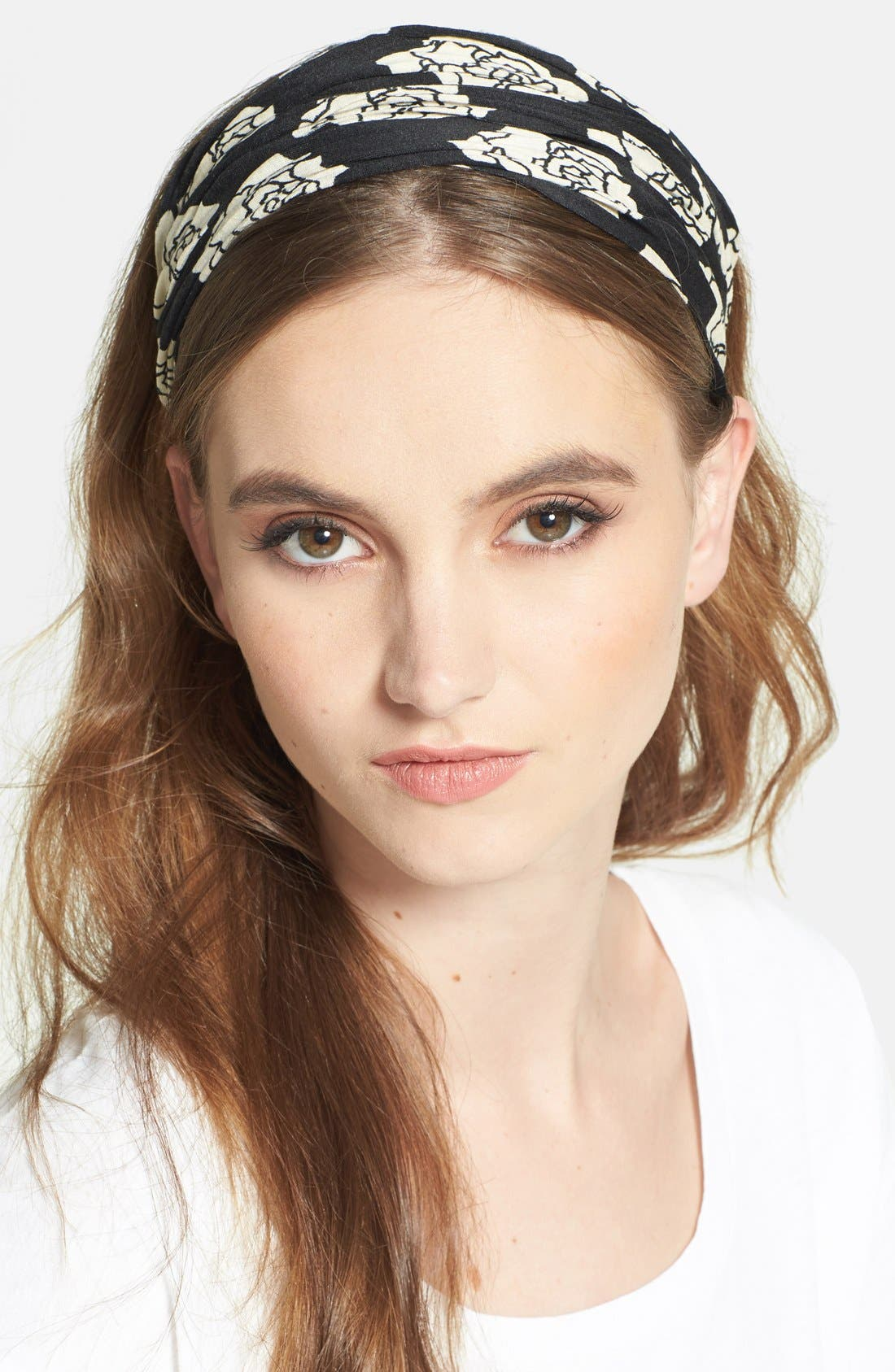 Alternate Image 1 Selected - Natasha Couture Antique Rose Print Head Wrap