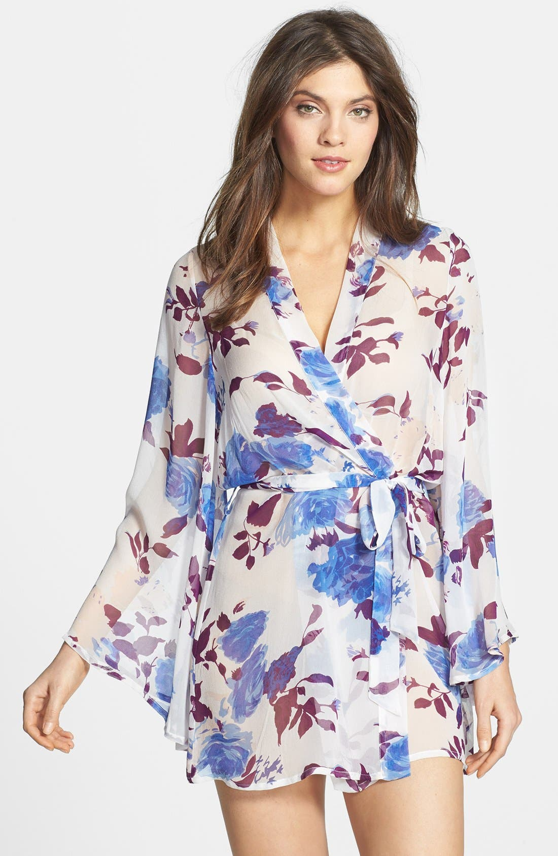 Alternate Image 1 Selected - Beautiful Bottoms London 'Bold Botanics' Silk Short Robe