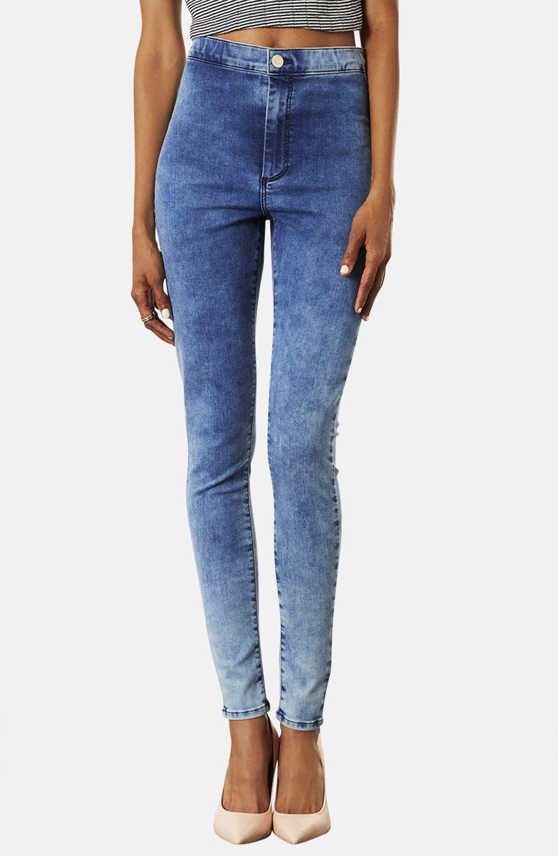 Alternate Image 1 Selected - Topshop Moto 'Joni' High Rise Mottled Skinny Jeans (Short) (Bleach Stone)