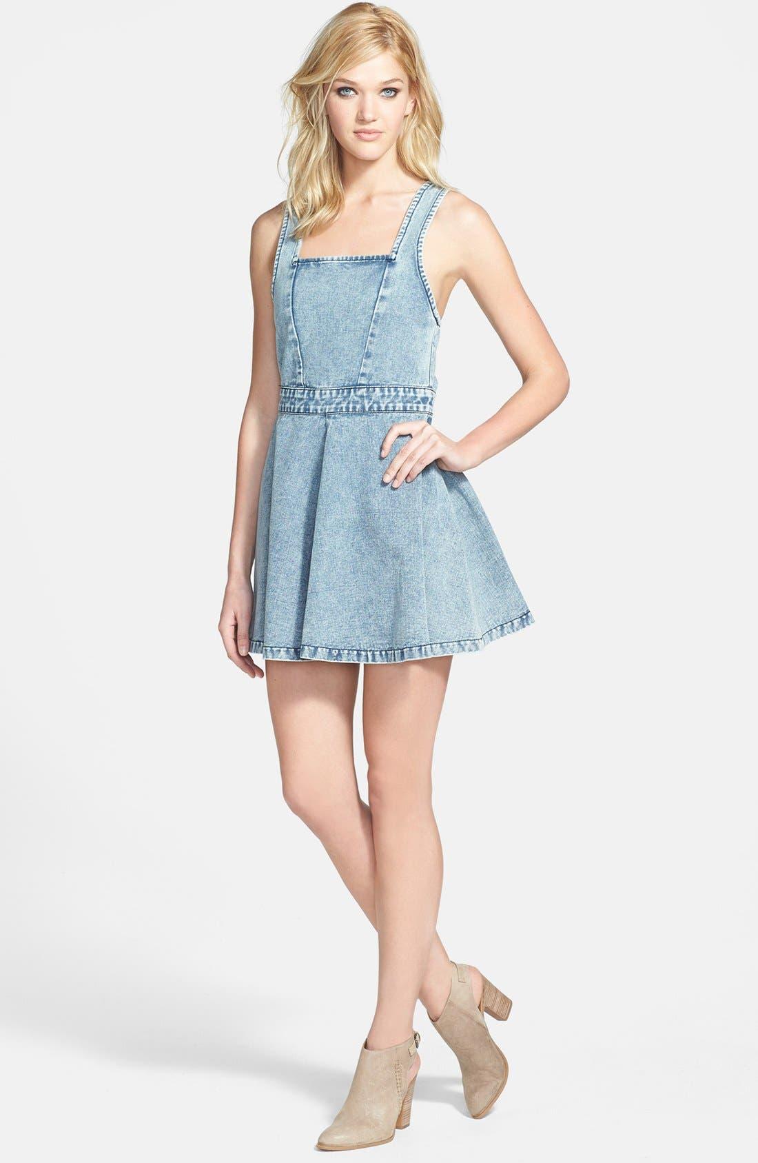 Main Image - MINKPINK 'Funday Sunday' Denim Pinafore Dress