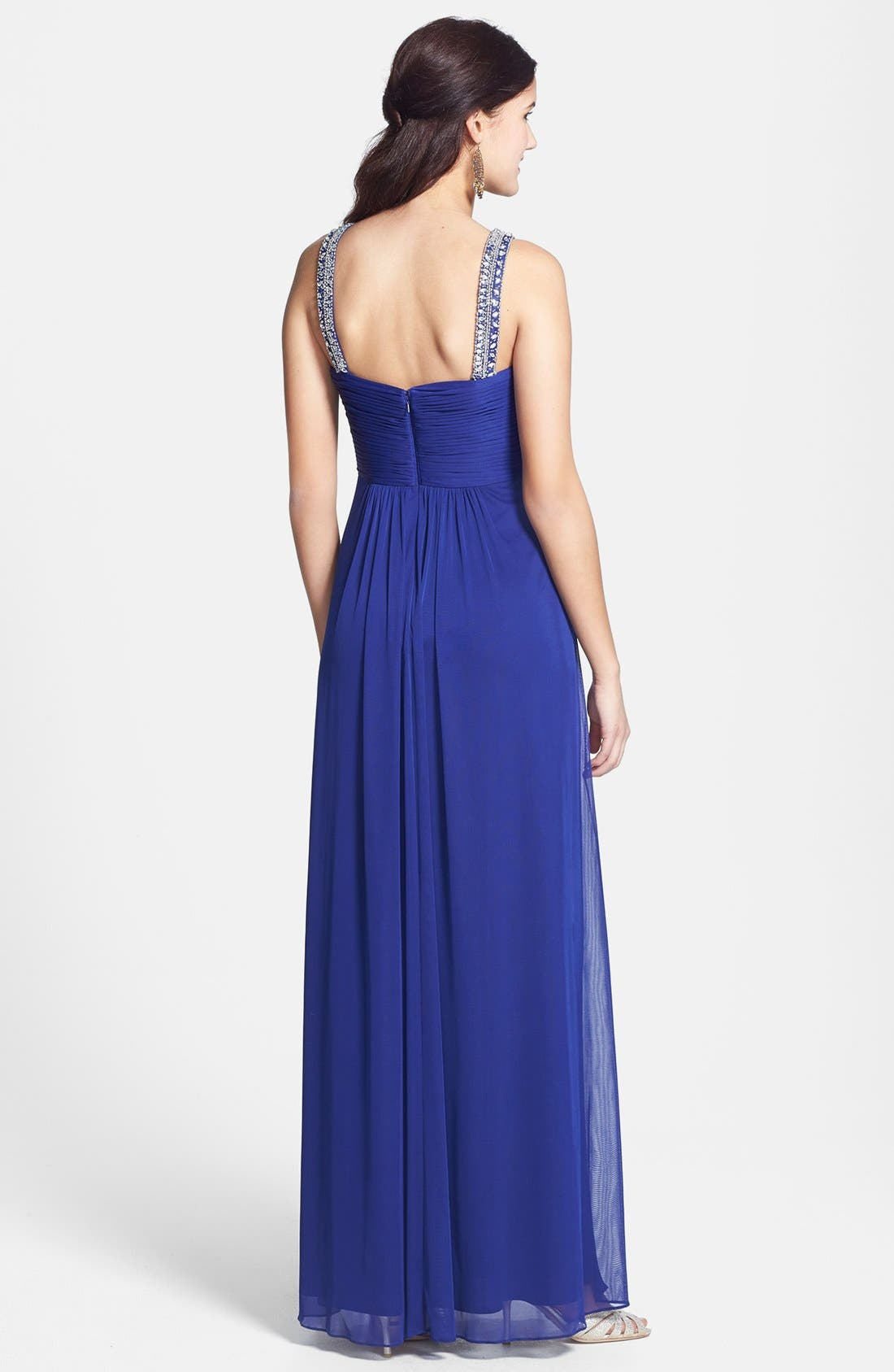 Alternate Image 2  - Xscape Embellished Chiffon Mesh Gown