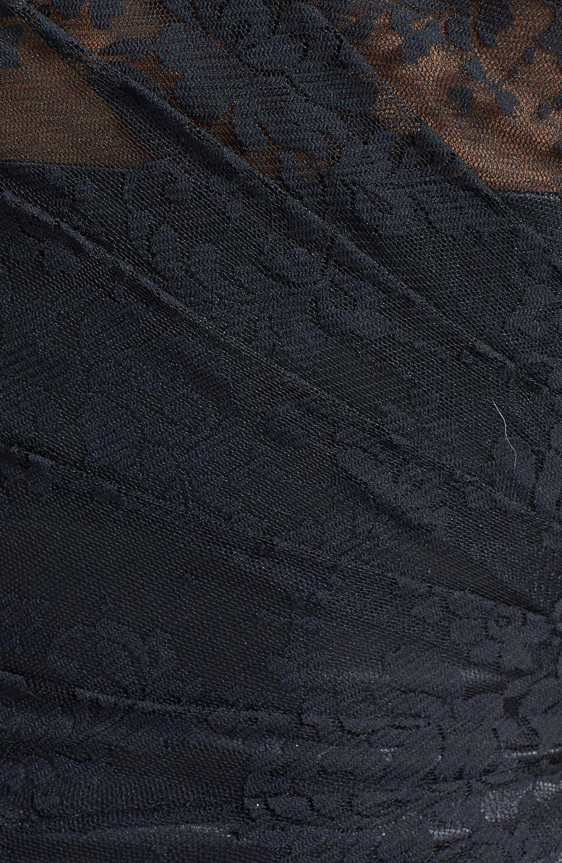 Alternate Image 4  - ML Monique Lhuillier Bridesmaids Pleated One-Shoulder Lace Dress