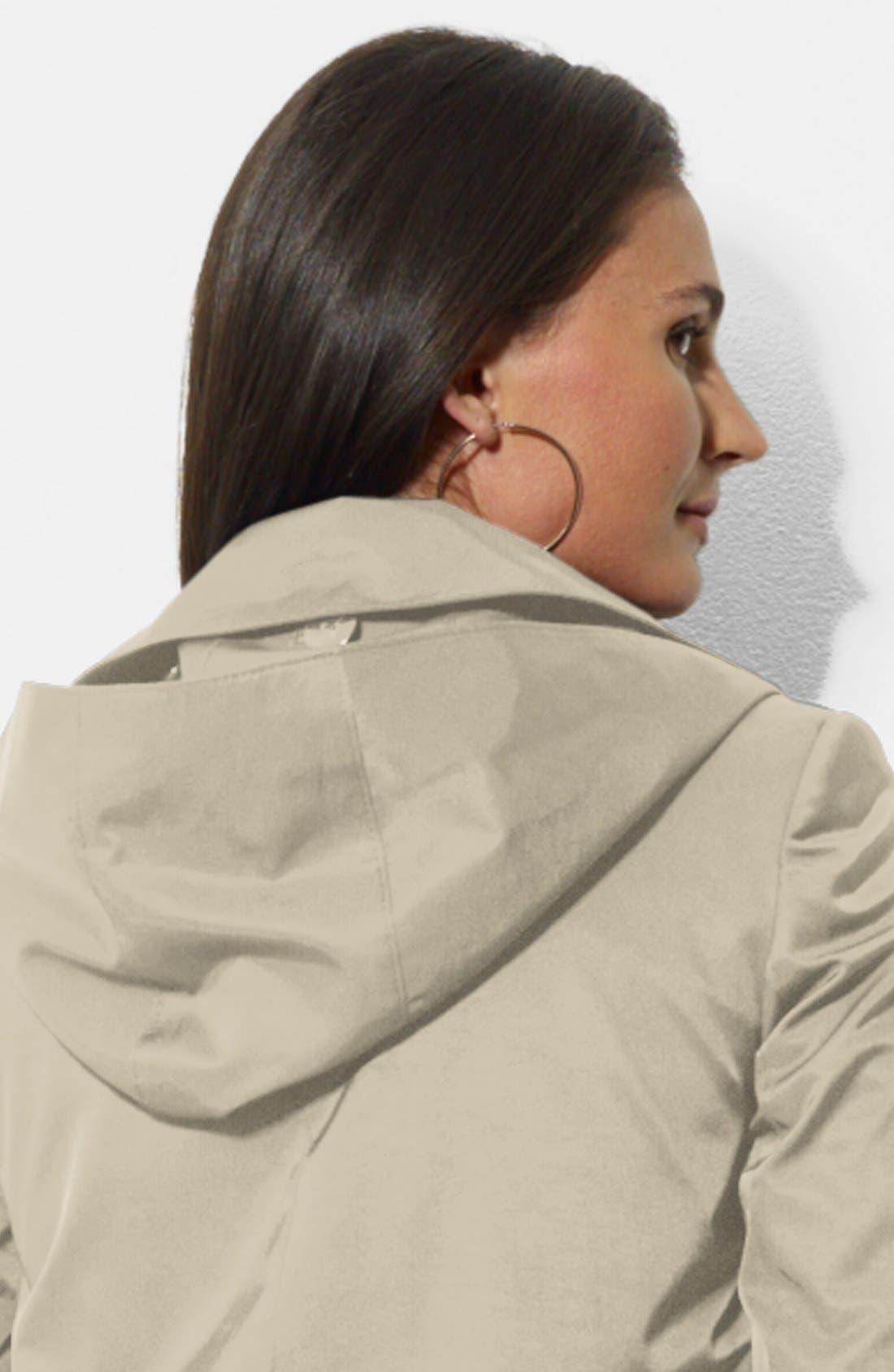 Alternate Image 4  - Lauren Ralph Lauren Bonded Cotton A-Line Jacket with Detachable Hood
