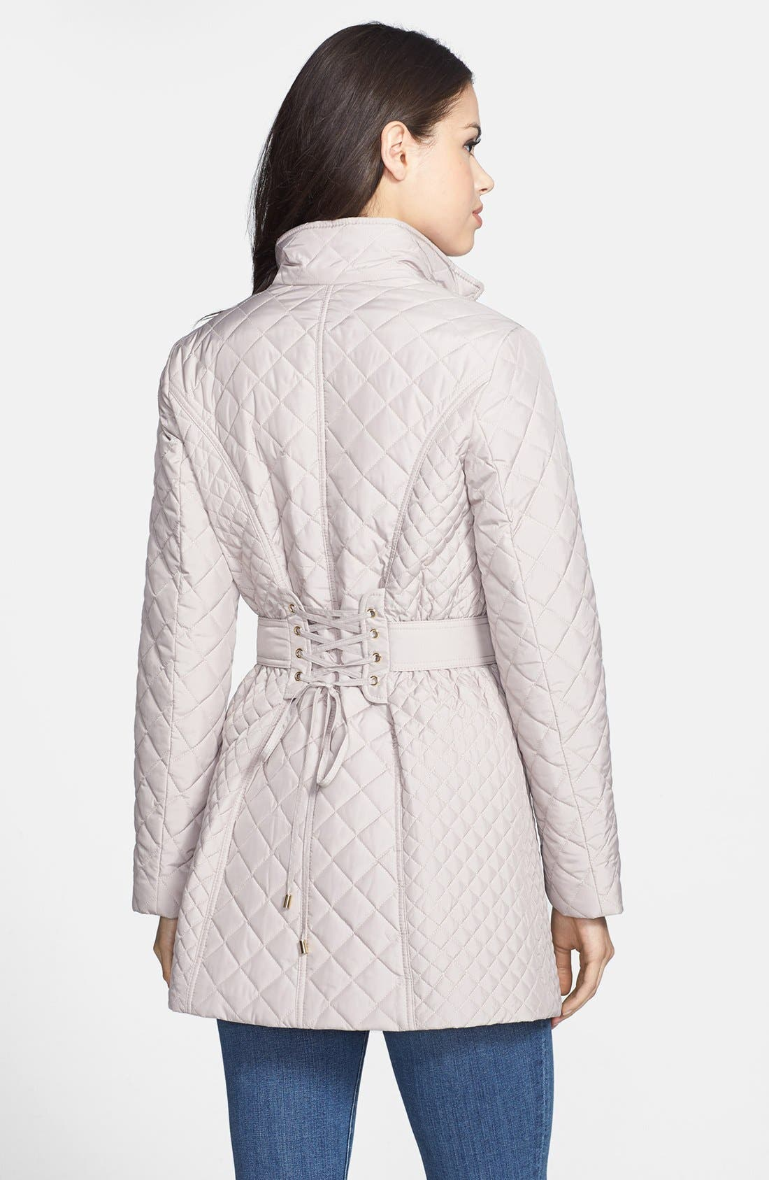 Alternate Image 2  - Betsey Johnson Lace-Up Back Quilted Jacket (Online Only)