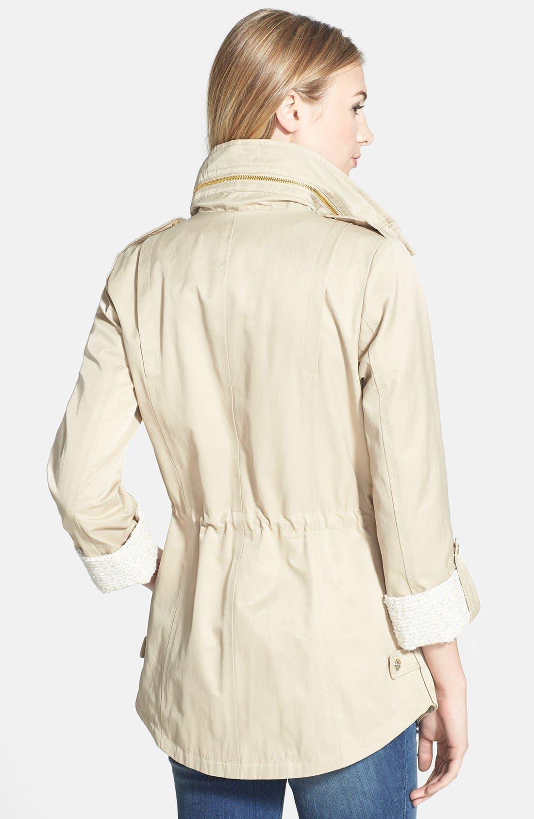 Alternate Image 2  - GUESS Tweed Detail Roll Sleeve Anorak