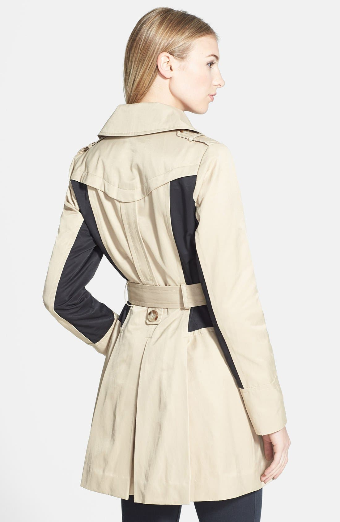 Alternate Image 2  - GUESS Colorblock Double Breasted Trench Coat