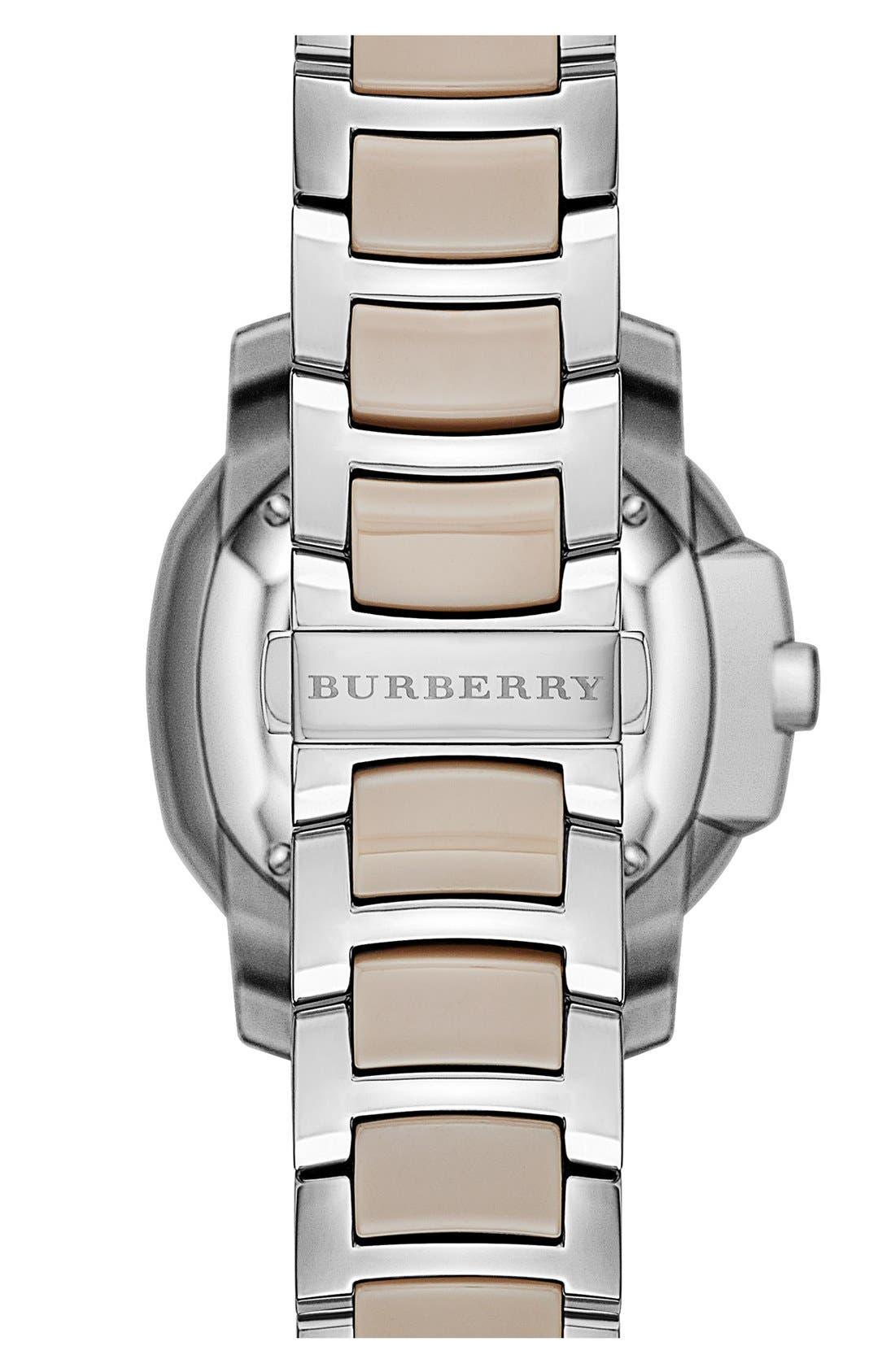 Alternate Image 2  - Burberry The Britain Ceramic Link Bracelet Watch, 34mm