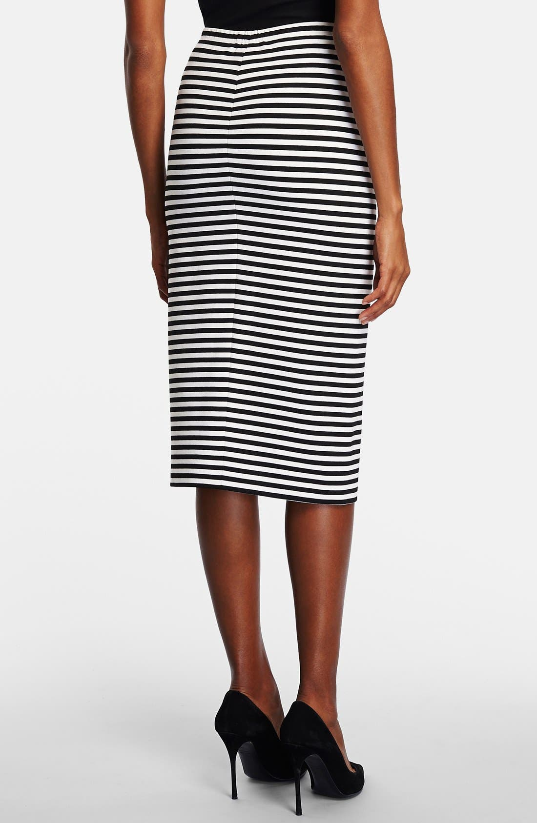 Alternate Image 2  - Lafayette 148 New York Stripe Stretch Knit Long Pencil Skirt