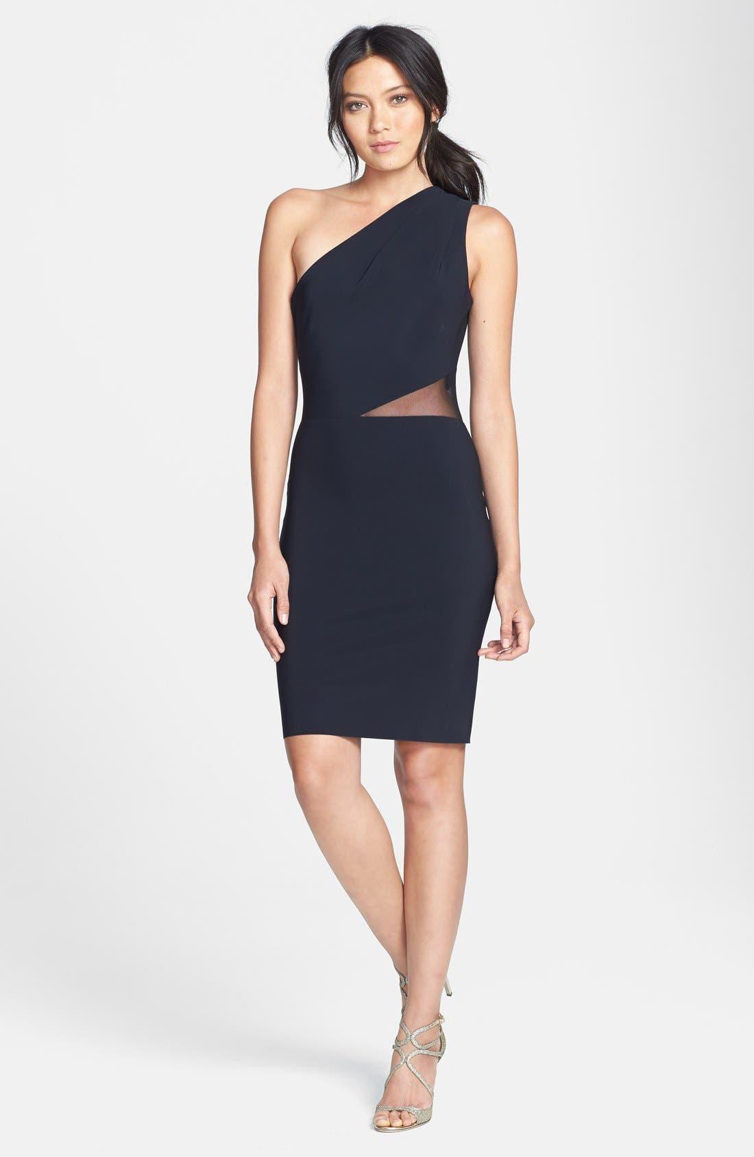 Alternate Image 3  - Halston Heritage Mesh Inset One-Shoulder Sheath Dress