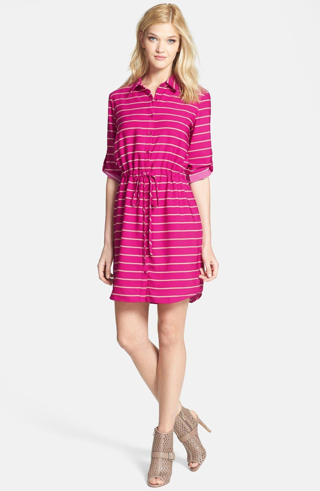 Alternate Image 2  - Collective Concepts Stripe Roll Sleeve Crêpe de Chine Shirtdress
