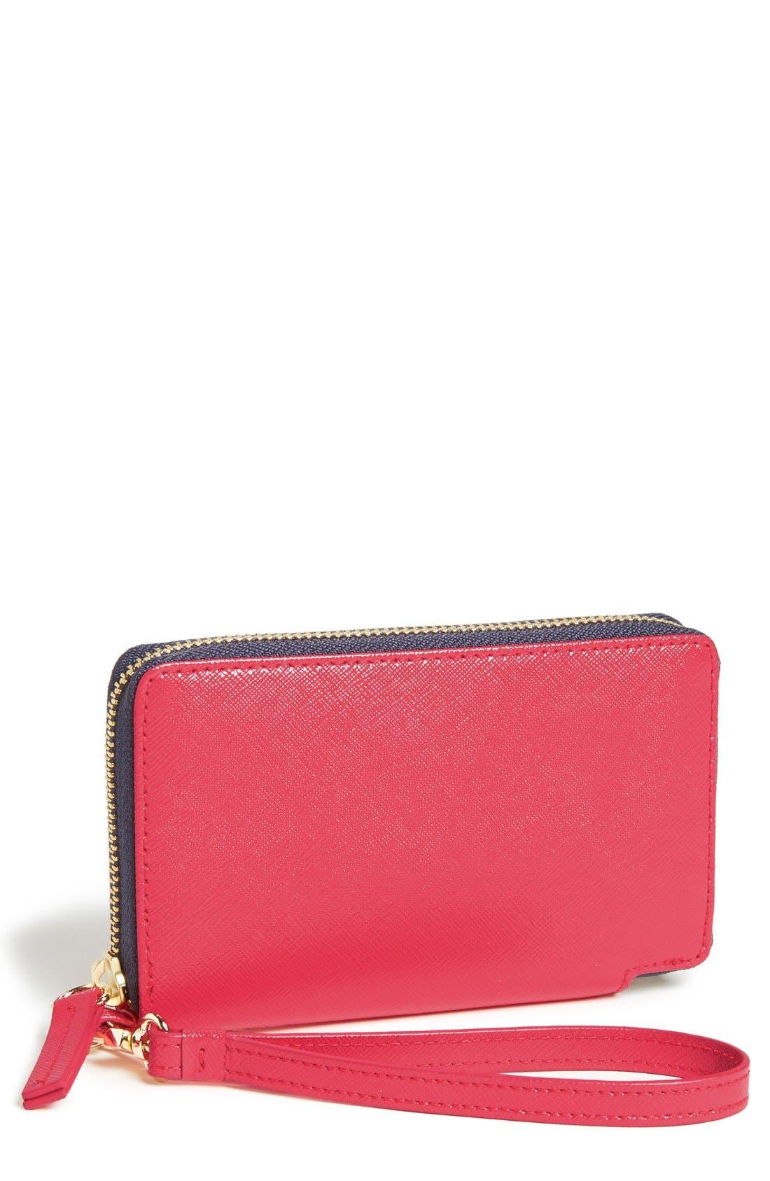 Main Image - Halogen® 'Cassie' Saffiano Leather Phone Wallet